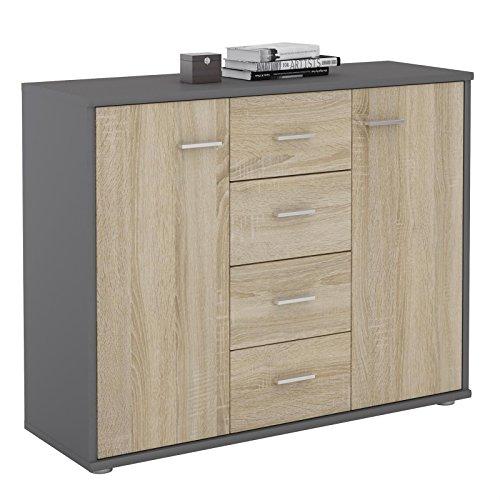 CARO-Möbel Sideboard Jamie Kommode Büromöbel mit 2 Türen und 4 Schubladen in grau/Sonoma Eiche