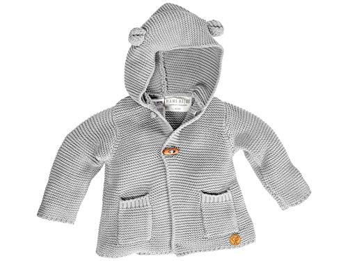 Bio Baby und Kinder Strickjacke mit Kapuze 100% Bio-Baumwolle (KbA) GOTS zertifiziert, Hellgrau Melange, 74/80