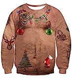 Idgreatim Unsiex Ugly Noël Pull Sweatshirts Poilu Poitrine Impression 3D Nouveauté Xmas Elf Chandail À Manches Longues Chemises XXL