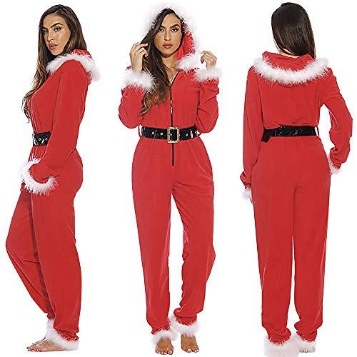 Pijama de Navidad de felpa con cinturón para mujer sexy babydoll Lencería adulto niño Papá Noel terciopelo con capucha capa capa túnica