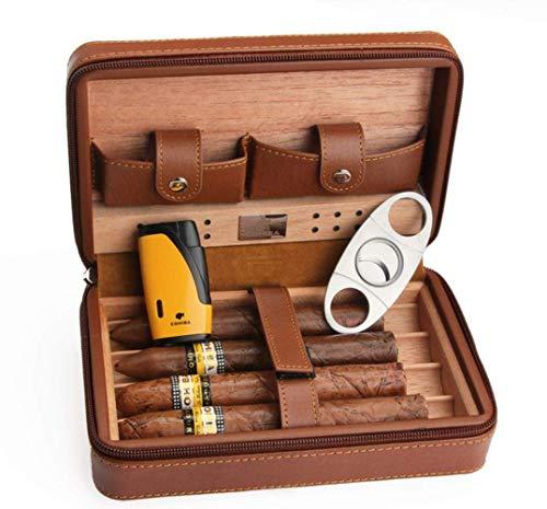 Cxjff Zedernholz Humidor Reisen Tragbare Leder Zigarre Fall Zigarren Box mit Feuerzeug Cutter Befeuchter Box, Gelb Leichter
