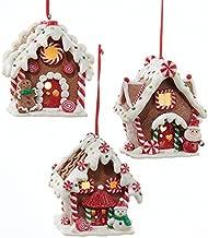Kurt Adler 1Set 3varios colores funciona con pilas LED de jengibre casa de arcilla decoraciones de árbol de Navidad