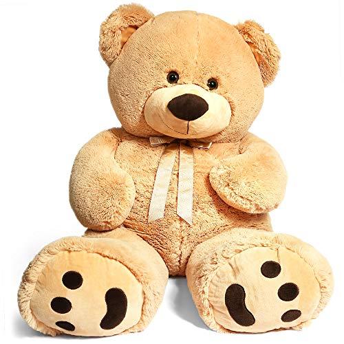 LotFancy - Oso de peluche grande de 39 pulgadas, peluche de peluche, oso de peluche grande con huellas grandes, regalos para niñas, novia, esposa en San Valentín, cumpleaños
