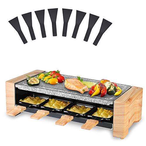Artestia Raclette Table Grill, Electric Indoor Grill Korean BBQ Grill, Raclette Grill 1450W Removable 2-in-1 with grill stone,Fast Heating with 8 Cheese Melt Pans, Ideal for Parties and Family Fun