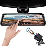 FOOKOO Backup Camera 10' Mirror Dash Cam, Dash Cam Front and Rear Full Touch Screen Video Streaming Rear View Mirror Camera, Night Vision Waterproof 1080P Rear Camera