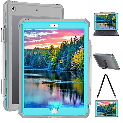 iPad 8th Generation Case - 2020 Waterproof iPad 10.2 Case Full Body Protection Bumper Case for iPad 7 8 gen 10.2 inches Shockproof Anti-Scratch with Strap Stand Pencil Holder
