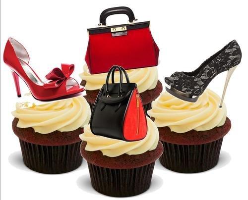 JPS Borsa Scarpe Misto Rosso Nero - 12 Decorazioni Commestibili per Torte-Handbag Shoe Mix Red Black - 12 Edible Stand Up Premium Wafer Cake Toppers