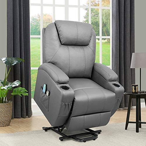 Flamaker Power Lift Recliner Chair PU Leather for Elderly with Massage and Heating Ergonomic Lounge Chair for Living Room Classic Single Sofa with 2 Cup Holders Side Pockets Home Theater Seat (Gray)