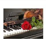 XZHYMJ Kits de pintura de diamantes 5D guitarra rosa roja flores bordado Piano punto de cruz arte cultura decoración del hogar mosaico 40 × 50 cm