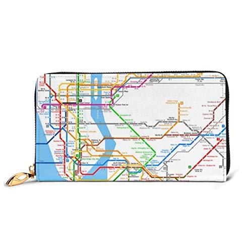 Womens York metro kaart lederen portemonnee RFID blokkeren rits rond portemonnee echt lederen koppeling portemonnee kaarthouder Travel portemonnee polsband
