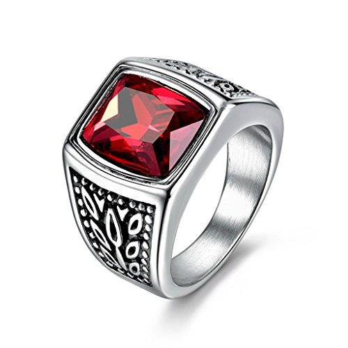 Promsup Mens Square Red Garnet Ruby Stainless Steel Solitaire Wedding Band Rings Jewelry (10)