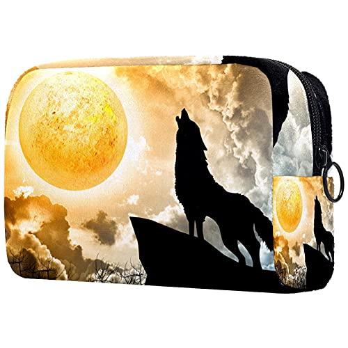 Howling Wolf - Bolsa de cosméticos para mujer, linda moda, bolsa de maquillaje espaciosa para viajes, artículos de tocador para niñas