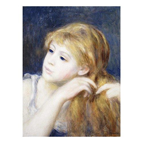 Bilderwelten Glasbild Auguste Renoir - Kopf eines Jungen Mädchens 80 cm x 60 cm