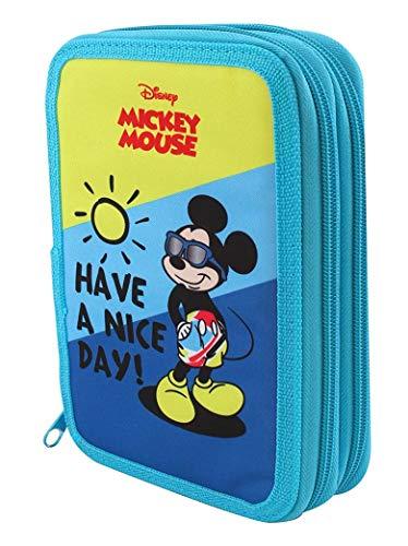 Theonoi Mickey Mouse Federmäppchen Federtasche Federmappe Mäppchen Etui 2 Fach Doppeldecker Schüleretui Stifteetui GEFÜLLT – 31 Teile - Geschenk
