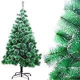 DISON TOYS Árbol de Navidad Artificial Natural Pino de Blanco Nevado Árbol Decorativo Verde con Soporte de Metálico Decoración Navideña 180 cm 220 Tips