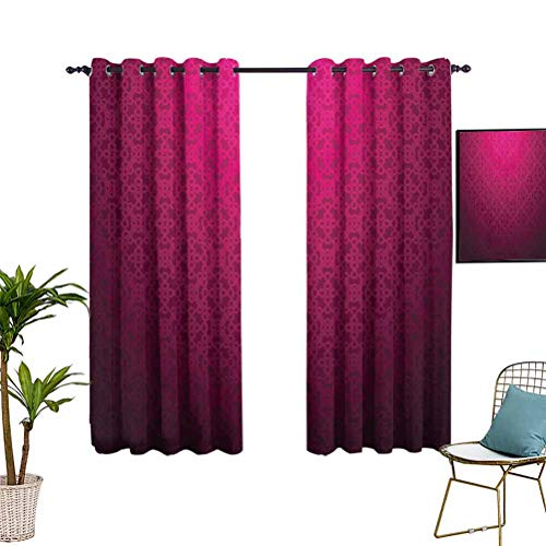 Anyangeight Magenta Decor Thermal Insulated Blackout Curtain Antique Ornamental Monochrome Royal Drawing with Arabesque Influence Boho Print Darkening Curtains for Living Room 42'x63' Purple
