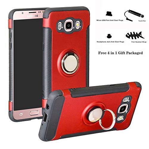 Labanema Galaxy J5 2016 Funda, 360 Rotating Ring Grip Stand Holder Capa TPU + PC Shockproof Anti-rasguños teléfono Caso protección Cáscara Cover para Samsung Galaxy J5 2016 - Rojo
