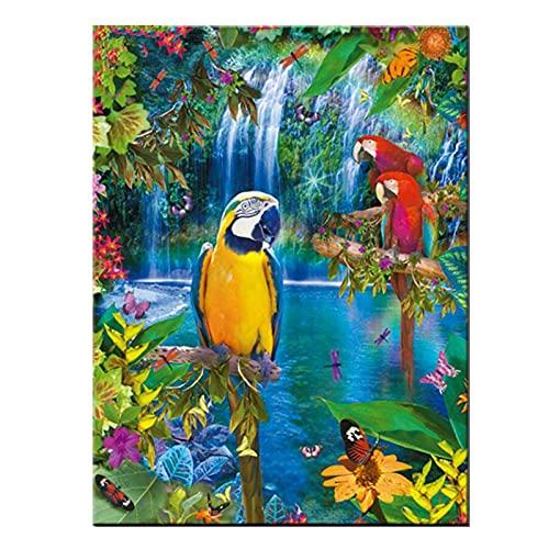 YANYAN Ring Store 5D Diamant Mosaik Strass DIY Diamant Malerei Kreuzstich Wasserfälle Gelb und rote Papageien Vögel Diamantstickerei (Size : 40 * 50cm)