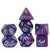 FLASHOWL Dadi poliedrici DND Dadi Cielo Stellato Dadi Via Lattea Dadi Giochi Giochi da Tavolo Dadi Set D20, D12, D10, D8, D6, D4 e DND Rpg MTG Dadi Dadi da Gioco (7 Pezzi Blu Viola)