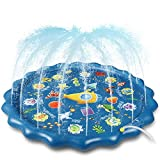 """Winique Splash Pad, Upgraded 68"""" Outdoor Summer Toys, Children Sprinkler Play Mat & Wading Pool for Fun Games Learning Party, Outside Water Toys for Toddlers Babies and 36 + Months Boys Girls (Blue)"""