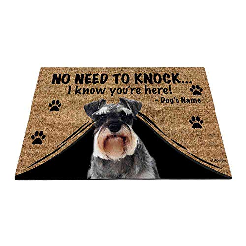 Bageyou - Felpudo personalizado con nombre de perro para exteriores con My Love Dog Schnauzer Welcome Floor Mat No necesita golpear I Know You're Here 59,6 x 39,9 cm