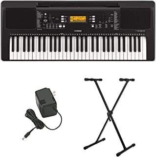 Yamaha PSR-E363 61-Key Portable Keyboard with Power Supply and Knox Gear Adjustable Keyboard Stand Bundle