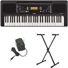 Yamaha PSR-E363 61-Key Portable Keyboard with Power Supply and Knox Gear Adjustable Keyboard Stand Bundle