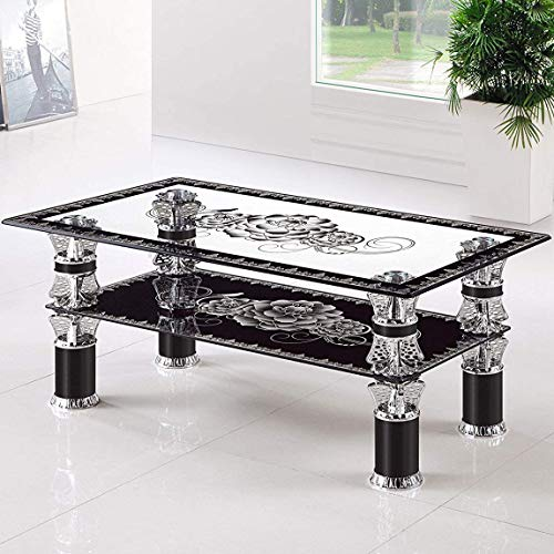 Volitation Rectangle Clear Glass Coffee Table Modern Side Table with Lower Shelf Chrome and Metal Support Living room Guest Reception Room Table (Black)
