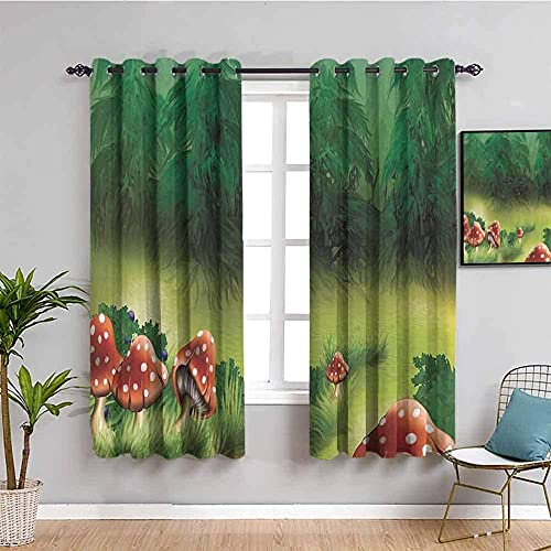JYDFC Blackout Curtains for Bedroom Eyelet - 3D Digital Printing Perforated Curtains - Living Room Bedroom Kitchen Nursery Curtain - 92X90 Inch - Green Plant Mushroom Pattern