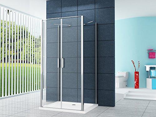 U Form Duschkabine Dusche Aron 80 x 80 x 195 cm / 8 mm/ohne Duschtasse