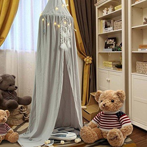 KING DO WAY Betthimmel Baldachin aus Baumwolle Leinwand Deko,Bett-Überdachung für Baby-Kind-zelte aus Cotton Canvas,als Mückenschutz Moskitonetz Insekten-Malaria Schutz,Hohe 240cm,Elephant Grau