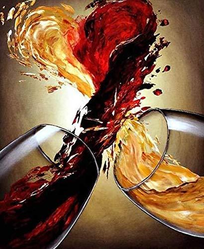 jzxjzx Gemengde wijn Diy schilderij met steen handgemaakte home decor geschenk vol vierkant Burs diamant borduurwerk