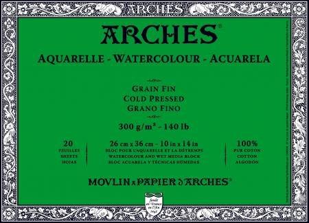 Bloc de 20 hojas de acuarela (pegadas 4 lados), 26 x 36 300 g/m2, grano fino blanco natural.