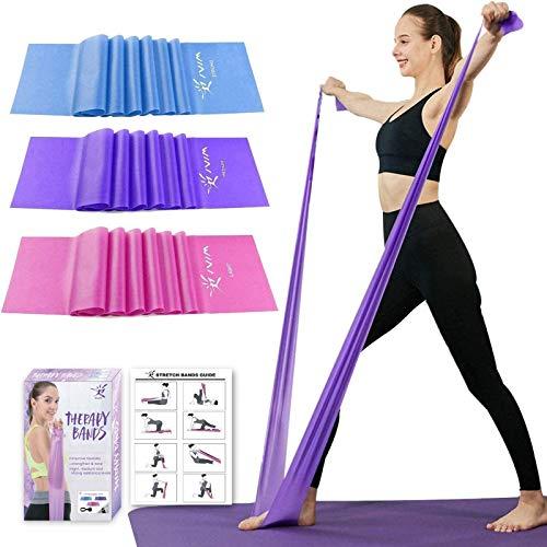 Juego de bandas de resistencia de terapia, sin látex, bandas para estiramiento, flexibilidad, pilates, yoga, ballet, gimnasia y rehabilitación, color rosa morado, azul (3paquetes, 4m de largo)