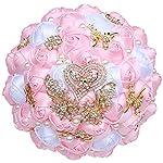 kupark wedding bouquet corsage wrist flower set bridal bouquet groom boutonniere bridesmaid wrist flower artificial roses decoration, pink