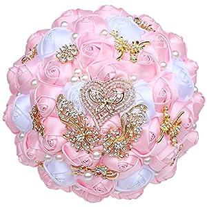 kupark wedding bouquet corsage wrist flower set bridal bouquet groom boutonniere bridesmaid wrist flower artificial roses decoration, pink silk flower arrangements