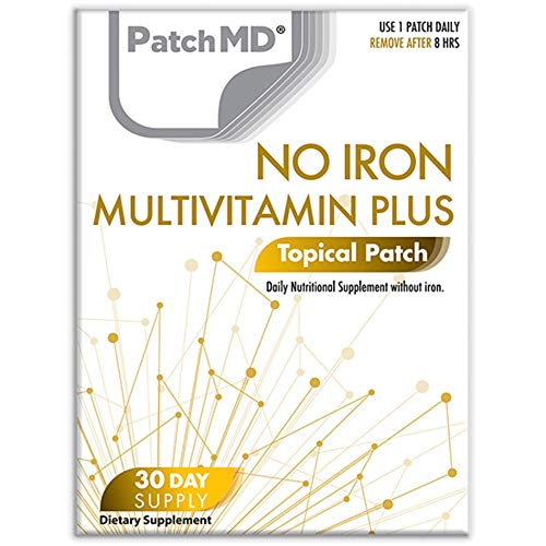 PatchMD No Iron Multivitamin Plus 30 Daily Topical Patches. 100% Natural & Vegan. Allergy & Filler Free. High Absorption More bioavailable. Suitable for Sensitive stomachs & bariatric.