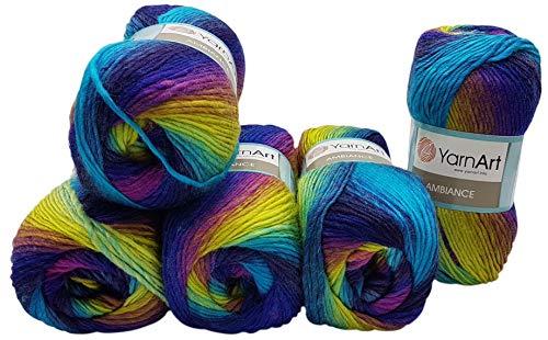 Ilkadim YarnArt Ambiance - Ovillo de lana para tejer (5 ovillos de 100 g, 500 g, 20% lana, color morado, terracota, entre otros)