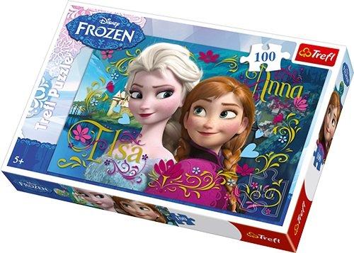 Trefl - 16255 - Puzzle - Disney Frozen - Anna et Elsa - 100 Pièces