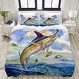 SDBUYW-ZQ Bedding Juego de Funda de Edredón,Marlin Azul Marlines Atún Pequeño Bonito Pescado Terry Fox,Funda de Nórdico y 2 Fundas de Almohada Double