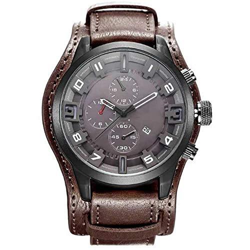 YUN Mira con función de Calendario,Reloj de Hombre Correa de Cuero Analogico Cuarzo Reloj Regalo Hombre (Color : Brown)