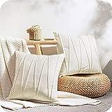 Top Finel Juegos 2 Hogar Cojín Terciopelo Suave Decorativa Almohadas Fundas de Color Sólido para Sala de Estar sofás 40x60cm Crema