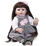 ADZKOO 55cm Reborn Baby Doll Vinilo de Silicona Bebés Vivos Viste el Pelo Largo Princesa Niño Niña Regalo de cumpleaños Jugar a Las Casitas de Juguete Nice Family