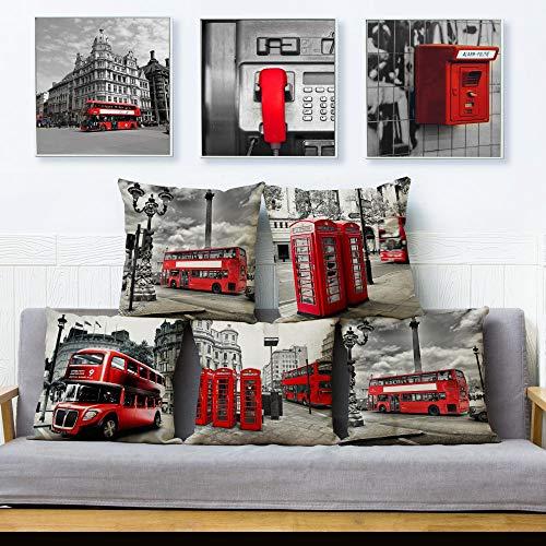 JWEK Set di 5 Fodere per Cuscino Rosso Londra Bus Set di Cuscini Federa di Lino Beige 45X45Cm Quadrato Reticolo Federa Divano Decorazione della casa Federa