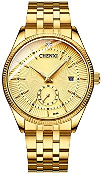 Fanmis Men s Luxury Analog Quartz Gold Wrist Watches Business Stainless Steel Band Dress Wrist Watch Classic Calendar Date Window 3ATM Water Resistant  Gold