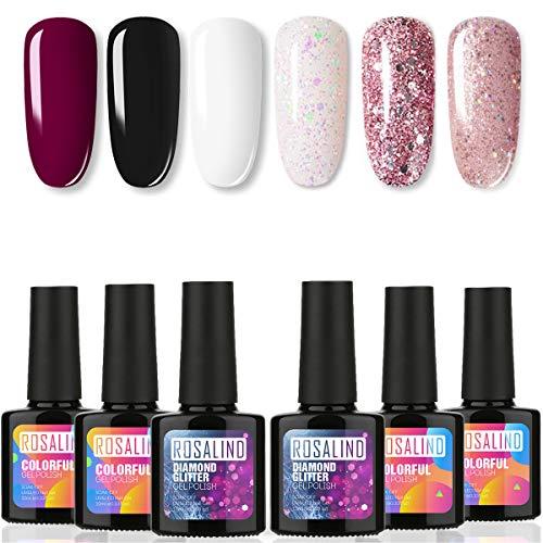 Juego de esmaltes de uñas de gel negro, colección de 6 colores puros y con purpurina, esmalte de uñas UV, remojo LED, salón de manicura para decoración de uñas, DIY en casa, 10 ml cada