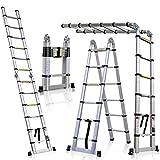 5M Échelle Télescopique Pliante 2 en 1 Escabeau Pliant Ladder, Certifié EN131, Charge max 150 kg (2,5M + 2,5M)