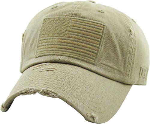KBVT-209 KHK Tactical Operator with USA Flag Patch US Army Military Baseball Cap (Adjustable, (209) Khaki)