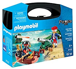 Features a functioning cannon Includes a boat for the Pirate to attempt escape, treasure and lots of accessories Play, store and carry away Complete with 2 Playmobil figures Encourages learning through interactive play