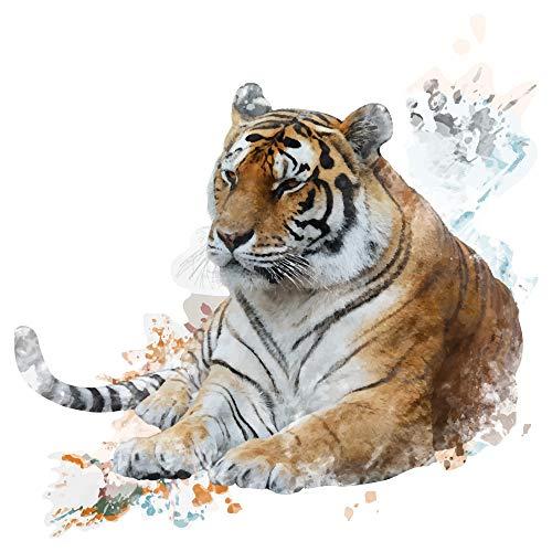 dekodino® Wandtattoo Aquarell Tiere Tiger in kunstvoller Optik Wandsticker Deko
